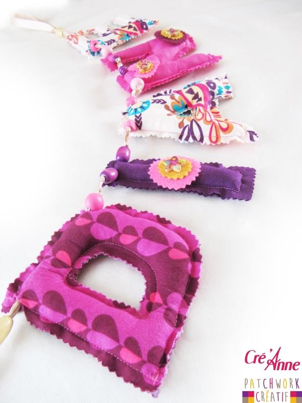 """Guirlande Prénom """"DIANE""""  Tissu coton / Feutre / Perles / Ruban Commandez le prénom de votre enfant sur http://cre-anne.alittlemarket.com/ 5€ la lettre (à partir de 6 lettres, prix dégressif)"""
